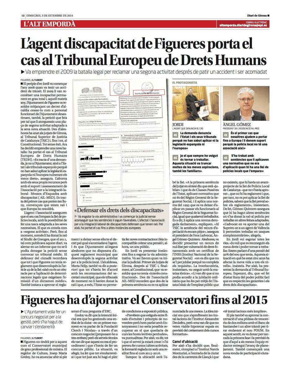 L'agent discapacitat de Figueres porta el cas al Tribunal Europeu de Drets Humans