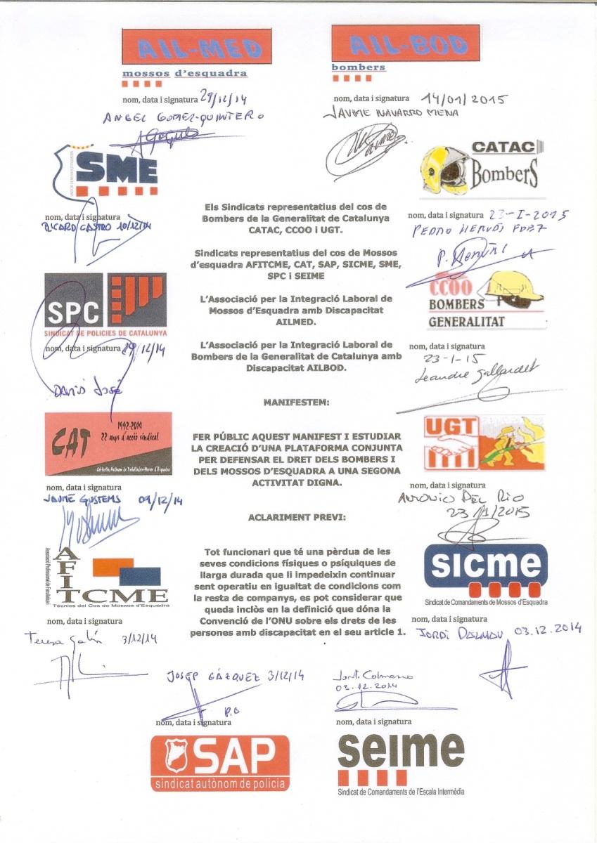 Manifest conjunt de tots els Sindicats de Mossos d'Esquadra i Bombers i de les nostres Associacions per defensar els drets de bombers i mossos discapacitats a una segona activitat digna