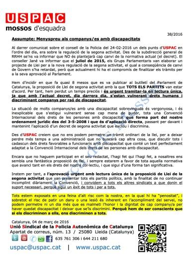 38-2016 COMUNICAT USPAC MENYSPREU ALS COMPANYS AMB DISCAPACITATS