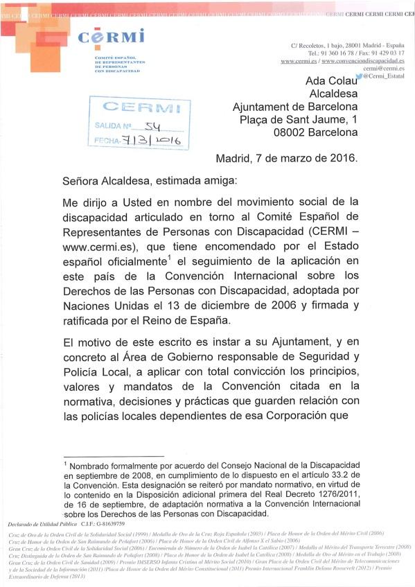 Carta CERMI a Ada Colau (arrossegat)